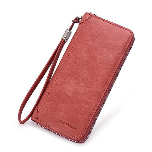 (Women Leather Wallet Rfid Blocking Large Capacity Zipper Around Travel Wristlet Bags (Coral) )