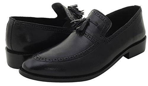 Vrijheid Heren Leren Handgemaakte Kwast Loafer Slip Op Kleding Schoenen Zwart