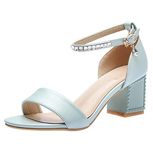 Femmes Bloc Ete Talons Chaussures Blue 9 Ouvert Bout Taoffen HqpaPxpS