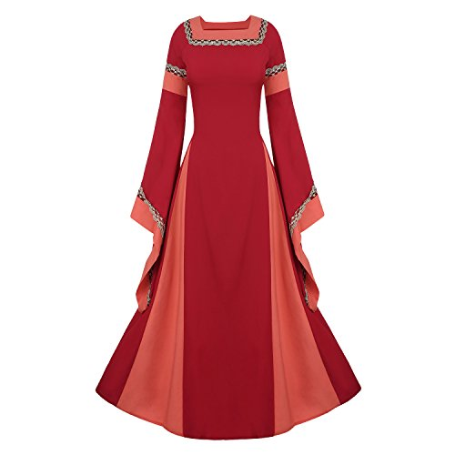 Women's Medieval Dress Halloween Cosplay Costume Lace Up Vintage Floor Length Retro Long Dress (XL, C-wine)]()