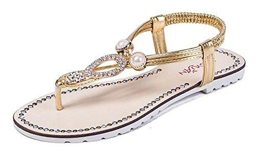 Easemax Moda Mujer Rhinestone Colgante Tanga Con Correa En T Tanga Elástica Slip On Flip Sandalias Oro