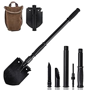 Wolfwill 15-in-1 Military Folding Shovel Tool Kit Functional Carry Bag Outdoor Camping,Hiking Fishing Essentials Survial Car Emergency