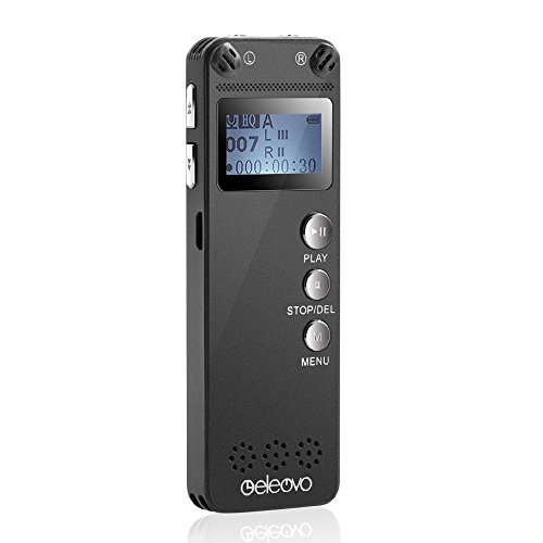 Digital Voice Recorder by Eleovo,8GB 3072Kbps Sound Audio Recorder Dictaphone, Double Microphone,Voice Activated,MP3 Player,Metal Casing,Including USB Charging Cable