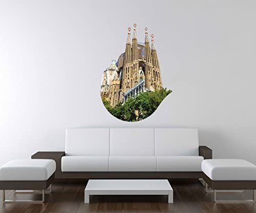 3D Pegatina Pared Iglesia Sagrada Familia Barcelona España Pared Adhesivo Decoración Mural Adhesivo de Pared A3D213-60cm: Amazon.es: Hogar