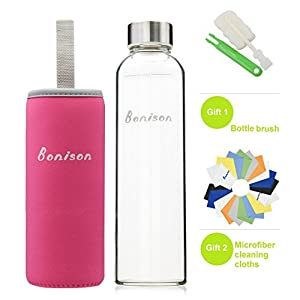 BONISON Stylish Top-Quality Environmental Borosilicate Glass Water Bottle with Colorful Nylon Sleeve, Pink, 18 oz