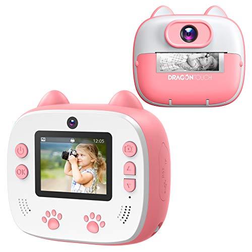 Dragon Touch Instant Print Kids Camera, InstantFun2 Digital Camera with Dual Camera Lens, Print Paper, Cartoon Sticker…