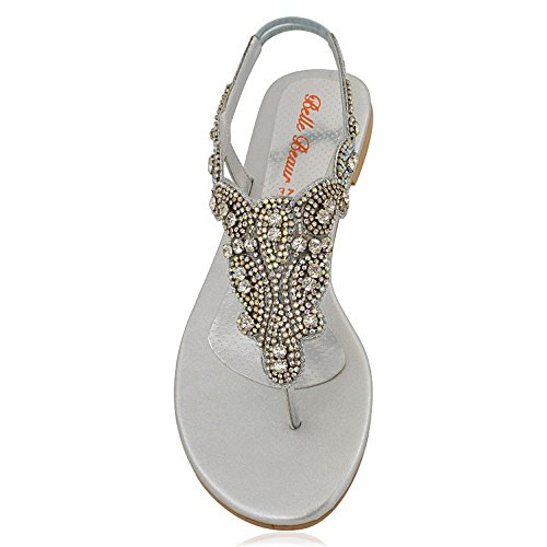 POST PARTY SANDALS TAMAÑO MUJERES FLAT SPARKLEY TOE LADIES DRESSY 8 DIAMANTE 3 Silver wt0x8