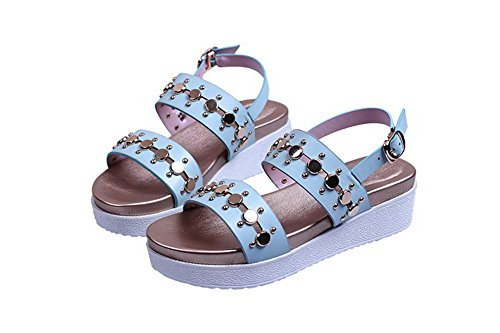 AllhqFashion Womens Open Round Toe Kitten Heels Cow Leather Solid Sandals with Metal Nail LightBlue ceQCJLC
