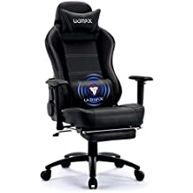UOMAX Gaming Chair Big and Tall Ergonomic Rocking Desk Chair for Computer, Racing Style Office Chair Recliner with Footrest and Massage Lumbar Support, PU Leather E-Sports Game Seat for Gamer. (Black)