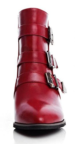 CHFSO Womens Stylish Solid Waterproof Faux Fur Lined Pointed Toe Buckle Zipper Mid Block Heel Ankle Short Winter Boots Red V7qnP