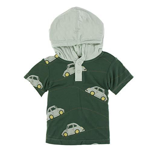 - Kickee Pants Little Boys Print Short Sleeve Hoodie Tee - Topiary Italian Car, 3T