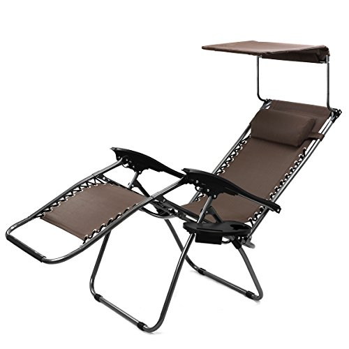XtremepowerUS Adjustable Reclining Brown Single Sunshade