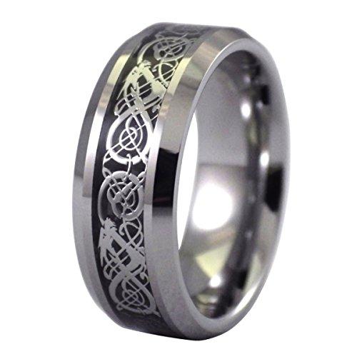 Nœud Argenté De 6–17 Carbone En Tungstène Alliance Viking Celtique Dragon Taille Noir Bague Fibre 8 nbsp;mm qxnnHZYE
