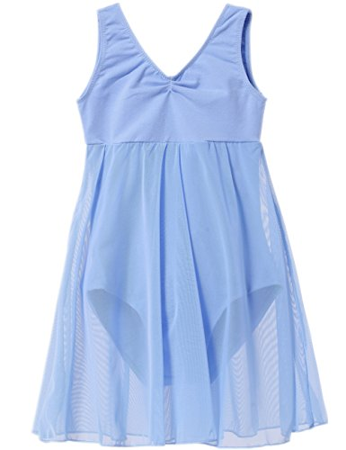 Empire Blue Apparel - MdnMd Girls' Empire Tank Leotard Dress (4-6 / Small, Blue)