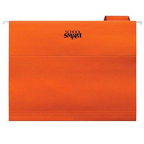 - School Smart Pendaflex Mediumweight Manila Stock 1/5 Cut Colored Reinforced Hanging File Folder, Letter, Orange, Pack of 25