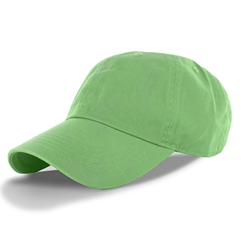 - Plain 100% Cotton Hat Men Women Adjustable Baseball Cap (30+ Colors) Lime Green, One Size,