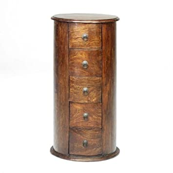 Jali Sheesham 5 Drawer Drum Chest Drawers  Indian Wood Furniture Jali Sheesham  Furniture