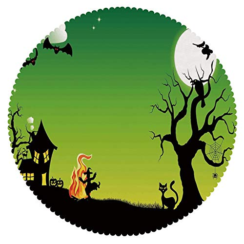 iPrint Funky Round Tablecloth [ Halloween Decorations,Witch Dancing with Fire at Halloween Ancient Western Horror Image,Green Black ] Fabric Home Tablecloth Ideas