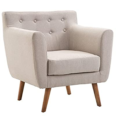 Giantex Tufted Arm Chair Fabric Upholstered Wood Leg Mid Century Sofa Accent Chair (Beige) - 🛋️〖Mid Century Style〗- Pull points on backrest and whole line and shape design conform to mid century style. It is a perfect complement for your home and match any décor. 🛋️〖Solid Leg Base〗- Four legs under the chair seat is made of solid wood which gives strong support to you and seat itself and make it stand steadily. With exquisite craftsmanship, rubber feet protect the floor being scratched. 🛋️〖High-quality Material〗- The main material of chair is linen that is durable and long-lasting. It doesn't fade away and always maintain brand-new. - living-room-furniture, living-room, accent-chairs - 41ZEdVsRgpL. SS400  -