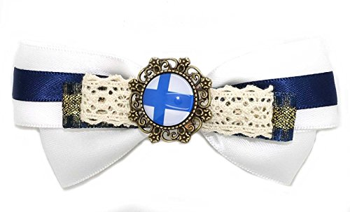 - Grimbatol Handmade Finland Flag Lace Ribbon Bowknot Hairpin Hairwear +5 Random Hairpins Women,Girls