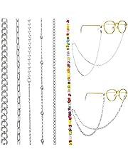 6 unidades de gafas/cadena de gafas para mujer, oro y plata