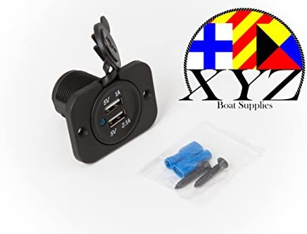 XYZ Boat Supplies Dual USB Charger Socket for Boat//Rv//Car//Motor-home XYZ001