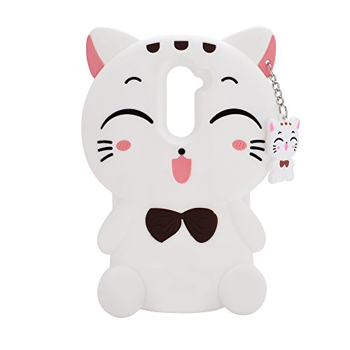 ZTE Avid Trio Z833 /ZTE Sonata 3 Case,XKAUDIE 3D white Lucky Fortune Cat Kitty with Cute Bow Tie Silicone Rubber Phone Case Cover for ZTE Avid Trio / Maven 2 / Sonata 3 / Prestige / Avid Plus /Chapel