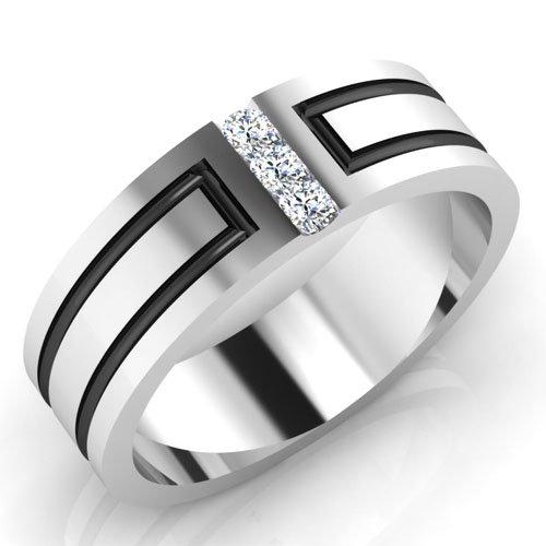 0,09 ct redonda natural diamond anillos de boda para hombre sólido 14 K oro