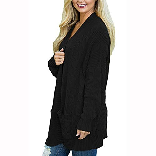 Clearance Womens Cardigan Tosp Cinsanong Winter Solid Long Sleeve Sweater with Pocket Open Front Coat by Cinsanong Long Sleeve Tops
