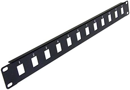 "16-Port 1U 19/"" Rack Mount Blank Patch Panel Black for Keystone Jack"