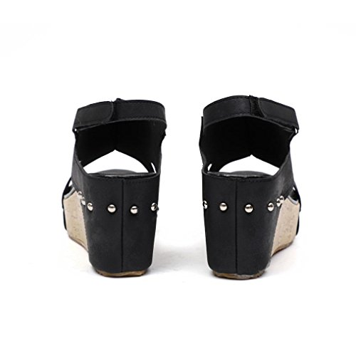 Longra Women's Summer Sandals,Ladies Round Toe Breathable Rivet Beach Sandals Boho Casual Wedges Shoes Black