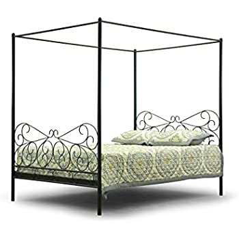 baxton studio monticello metal contemporary canopy bed queen