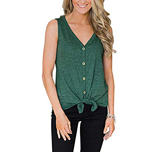 GOVOW Summer Tank Tops for Women Button V-Neck Sexy Vest Camisole Tops Sleeveless -