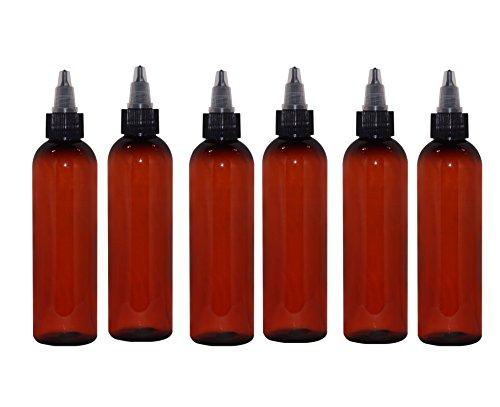 WM (Pack of 6) 4 oz. Amber Refillable, Reusable Empty Plastic Bottles w/Twist Open Yorker Cap - Mfg. USA DIY, Oils, Aromatherapy, Shampoo, Paint, Soap, Perfume, Moisturizer, Arts & Crafts, Juice ()