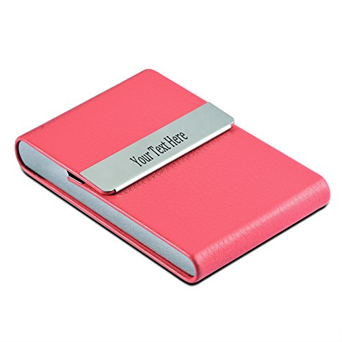Personalized 7 Colors Leather Stainless Steel Custom Engraved Business Card Holder Case - Business Gift(Rosy)