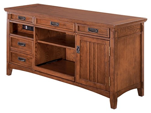 Ashley Furniture Signature Design - Cross Island Large Credenza Only - Bronze Hardware - Power Cord Included - Casual - Medium Brown Finish