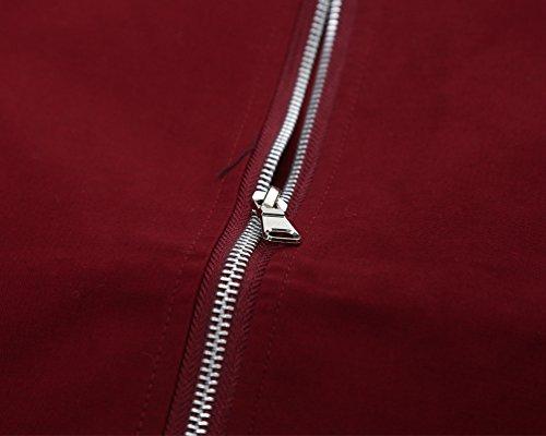Blusa Hombre YAANCUN Cremallera De Abrigo Diseño Invierno Vino Otoño Rojo Top P8n8RZ