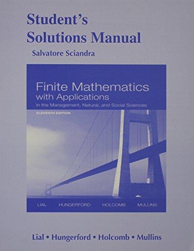 Finite Mathematics W/Appl. Std.Soln.Man