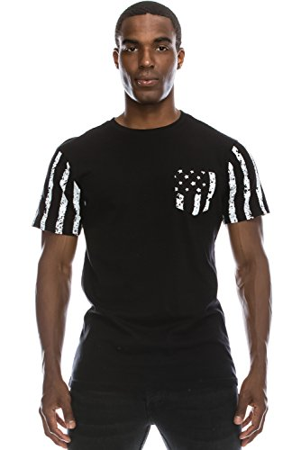 Mens Hipster Hip Hop Black And White Faded American Flag Design T-Shirt (Faded Black T-shirt)
