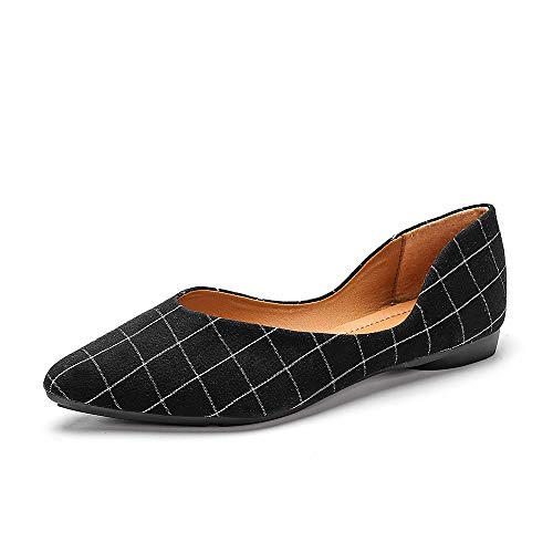 Meeshine Womens Classic Pointy Toe Ballet Flats Slip On Comfort Dress Flat Shoes (Plaid Black US 8)