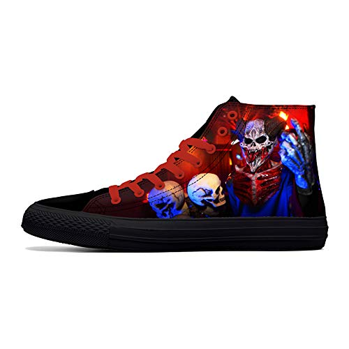 FIRST DANCE Skull Shoes for Men Fashion Sneaker High Top Skull Punk Rock Joker Print Shoes Black Shoes for Man Cool US12
