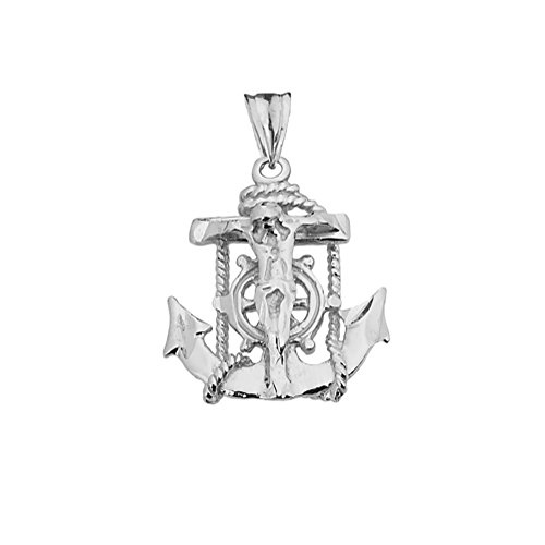 Exquisite Sterling Silver Nautical Jesus Christ Crucifix Cross Anchor Pendant (Sterling Piece Jesus Silver)