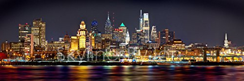 Poster City Skyline (Philadelphia Skyline PHOTO PRINT UNFRAMED NIGHT from East COLOR Philly City Downtown 11.75 inches x 36 inches Photographic Panorama Print Photo Picture Standard Size)