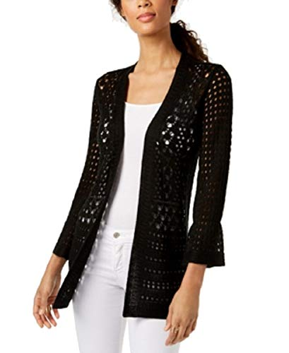Charter Club Petite Open-Stitch Cardigan (Deep Black, PS)
