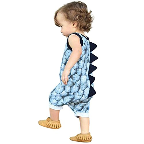 Vicbovo Clearance Sale Baby Boy Girl Adorable Dinosaur Sleeveless Jumpsuit Romper Summer Outfit Clothes (Blue, 6-12M) ()