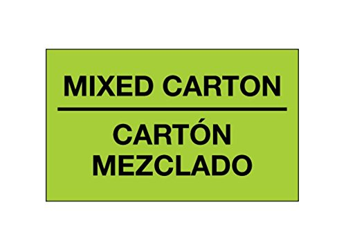 Bilingual Labels Fluorescent Green 5.75 Width 3.25 Height RetailSource DL1319x1 3 x 5 -Mixed Carton Carton Mezclado, 5.75 Length Pack of 500
