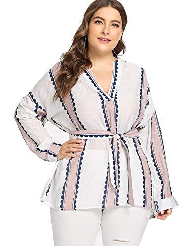 Romwe Women's Plus Size Elegant Stripe Print Long Sleeve Belt Work Blouse Top Shirts Multicolor 2XL
