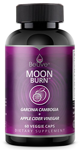 Moon Burn Garcinia Cambogia with Apple Cider Vinegar Weight Loss Pills for Women and Men. Sleep Aid Supplement, Stimulant-Free, Premium Carb Blocker & Appetite Control Fat Burner – 60 V-Caps