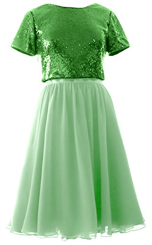 MACloth Cap Sleeves Two Piece Short Bridesmaid Dress Sequin Chiffon Formal Gown (EU34, Green-Mint)