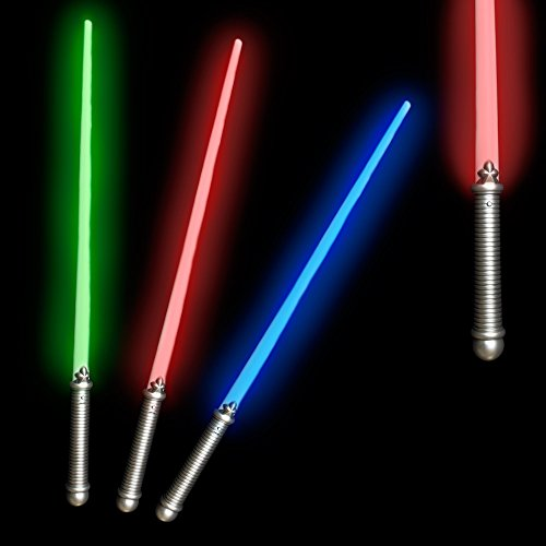 (6 Pack - 28 Inches LED Glow in the Dark Light Saber Toy Party Favor for Kids and Toddlers - Assorted Colors)